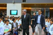 Mr. John Tsang Chun-wah, GBM, JP, Financial Secretary, arrived at Kick-off Ceremony of Enriched IT Programme in Secondary Schools
