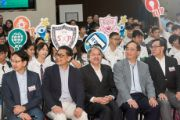 Mr. John Tsang Chun-wah, GBM, JP, Financial Secretary, Ir. Allen Yeung, Government Chief Information Officer, and Mr. Nicholas W Yang, the Advisor to the Chief Executive on Innovation and Technology, taken photo with other guests and students at the kick-off ceremony